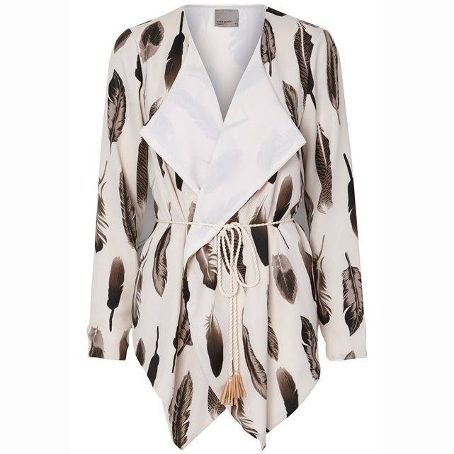 Firra Printed Waterfall Jacket With Rope Belt - style: belted jacket; collar: shawl/waterfall; predominant colour: ivory/cream; secondary colour: chocolate brown; occasions: casual, creative work; length: standard; fit: tailored/fitted; fibres: polyester/polyamide - mix; waist detail: belted waist/tie at waist/drawstring; sleeve length: long sleeve; sleeve style: standard; collar break: medium; pattern type: fabric; pattern: patterned/print; texture group: other - light to midweight; pattern size: big & busy (top); season: s/s 2016; wardrobe: highlight