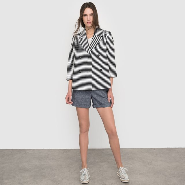 Striped Jacket - style: double breasted blazer; pattern: striped; collar: standard lapel/rever collar; secondary colour: white; predominant colour: black; occasions: casual, creative work; length: standard; fit: straight cut (boxy); fibres: cotton - mix; sleeve length: 3/4 length; sleeve style: standard; collar break: medium; pattern type: fabric; pattern size: standard; texture group: woven light midweight; season: s/s 2016; wardrobe: highlight