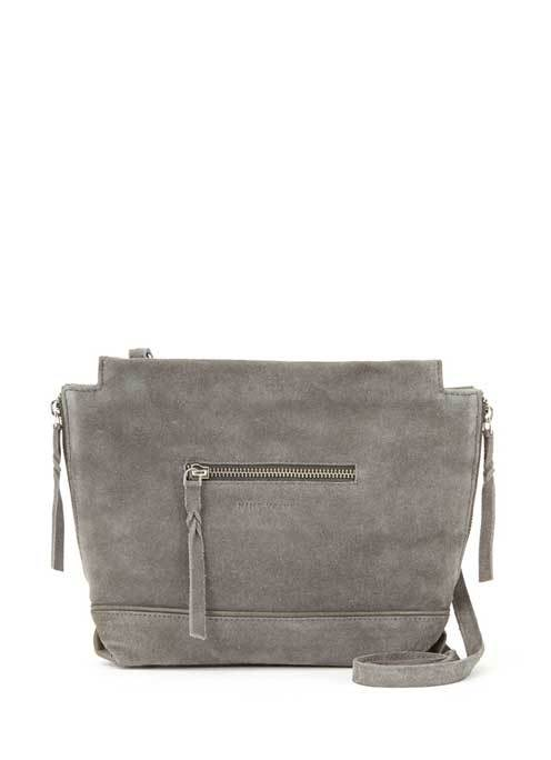 Grey Ivy Suede Cross Body - predominant colour: mid grey; occasions: casual, creative work; type of pattern: standard; style: tote; length: across body/long; size: standard; material: suede; pattern: plain; finish: plain; season: s/s 2016; wardrobe: investment