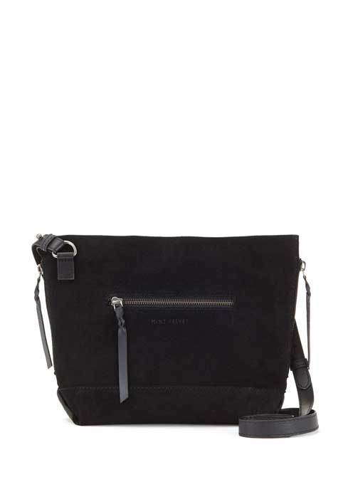Black Ivy Suede Cross Body - predominant colour: black; occasions: casual, creative work; type of pattern: standard; style: tote; length: across body/long; size: standard; material: suede; pattern: plain; finish: plain; season: s/s 2016; wardrobe: investment