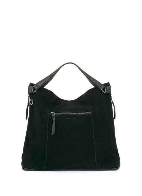 Black Millie Leather Slouch Tote - predominant colour: black; occasions: casual, creative work; type of pattern: standard; style: tote; length: handle; size: oversized; material: leather; pattern: plain; finish: plain; season: s/s 2016; wardrobe: investment