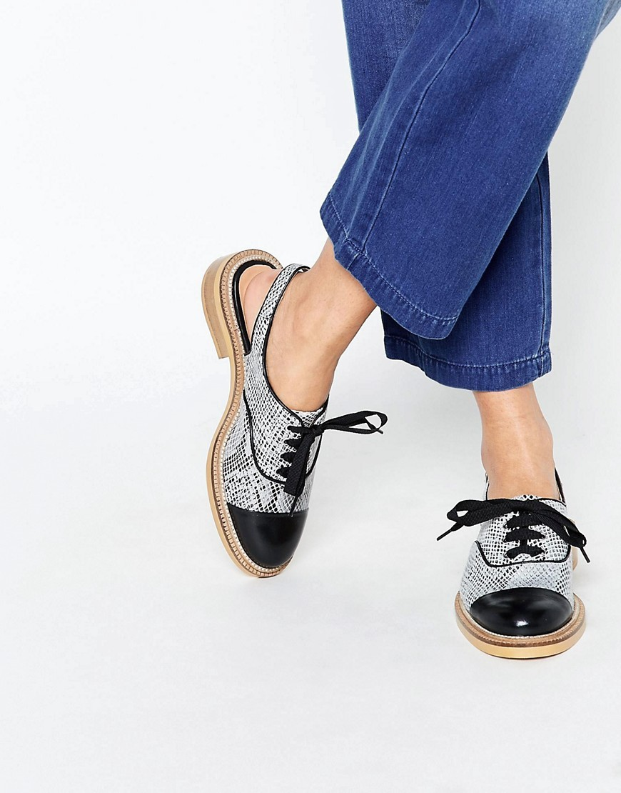 Kg Kurt Geiger Lassie Grey Snake Open Back Brogue Shoes Grey - predominant colour: mid grey; occasions: casual, creative work; material: leather; heel height: flat; toe: round toe; style: brogues; finish: plain; pattern: colourblock; season: s/s 2016