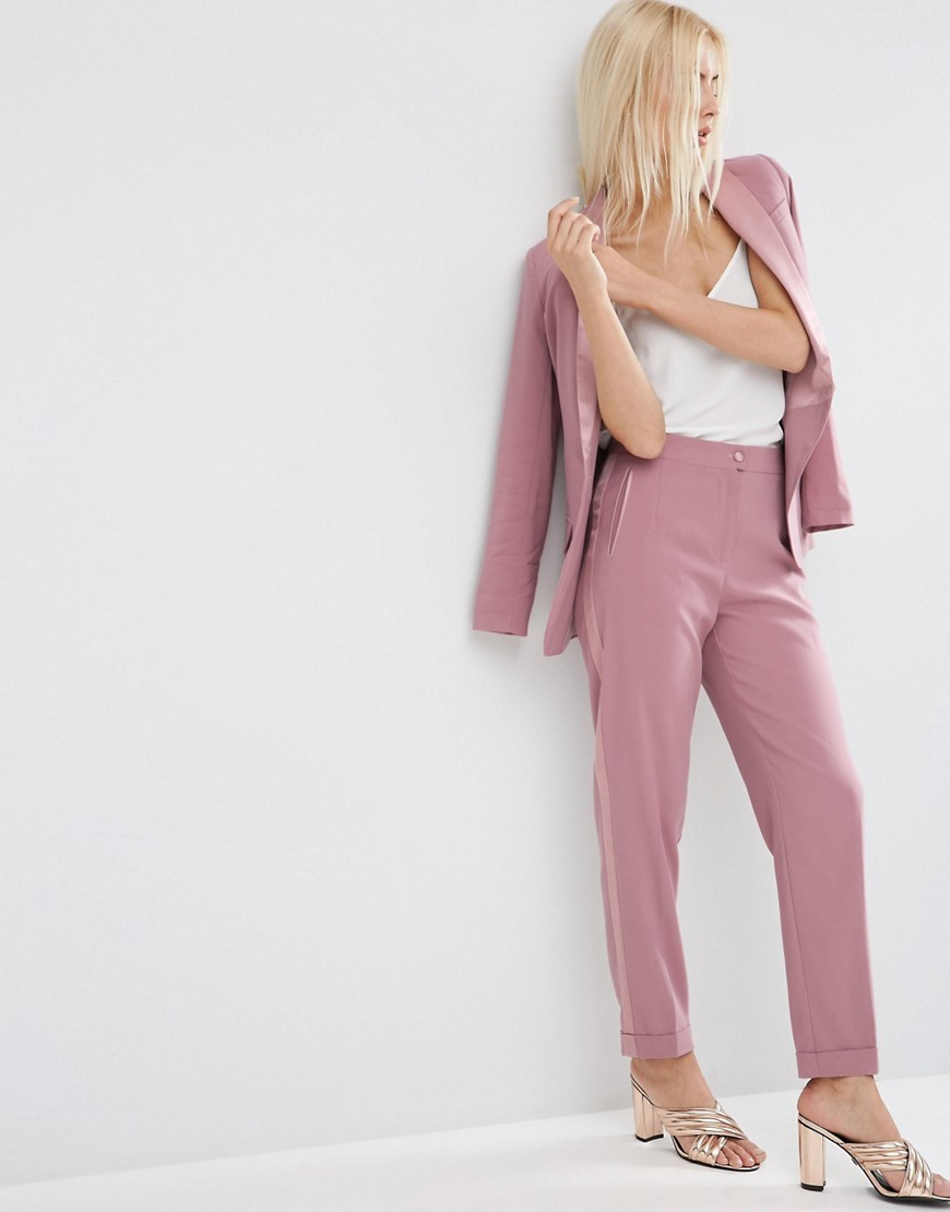 Occasion Summer Tux Trouser Dusky Pink - length: standard; pattern: plain; waist: high rise; fibres: viscose/rayon - stretch; fit: slim leg; pattern type: fabric; texture group: other - light to midweight; style: standard; predominant colour: dusky pink; occasions: creative work; season: s/s 2016; wardrobe: highlight
