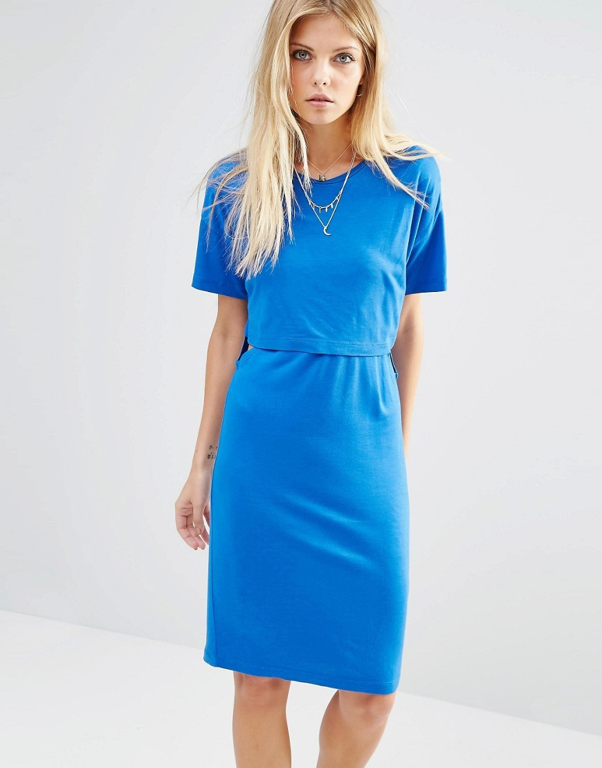 Cut Out T Shirt Dress Olympian Blue - style: shift; neckline: round neck; fit: tailored/fitted; pattern: plain; waist detail: elasticated waist; predominant colour: diva blue; length: on the knee; fibres: viscose/rayon - 100%; sleeve length: short sleeve; sleeve style: standard; pattern type: fabric; texture group: jersey - stretchy/drapey; occasions: creative work; season: s/s 2016; wardrobe: highlight