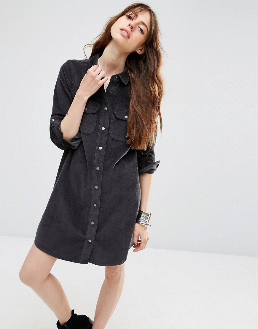 Cord Charcoal Western Shirt Dress In Grey Grey - style: shirt; neckline: shirt collar/peter pan/zip with opening; pattern: plain; predominant colour: charcoal; occasions: casual, creative work; length: just above the knee; fit: body skimming; fibres: cotton - stretch; sleeve length: 3/4 length; sleeve style: standard; pattern type: fabric; texture group: other - light to midweight; season: s/s 2016; wardrobe: basic
