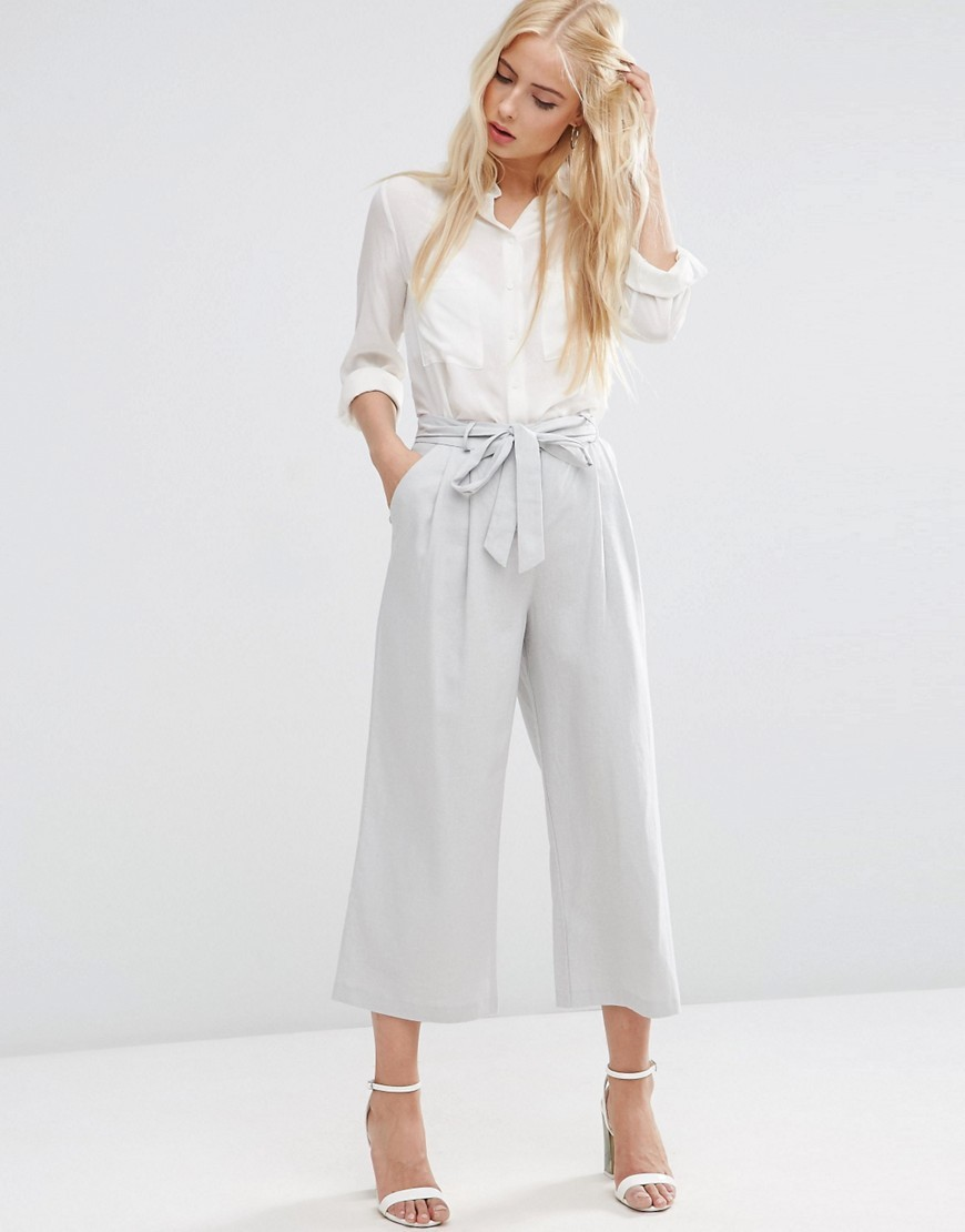 Linen Culotte With Tie Waist Silver - pattern: plain; waist detail: belted waist/tie at waist/drawstring; waist: mid/regular rise; predominant colour: silver; occasions: casual, work, creative work; length: calf length; fibres: linen - mix; texture group: linen; fit: wide leg; pattern type: fabric; style: standard; season: s/s 2016; wardrobe: highlight
