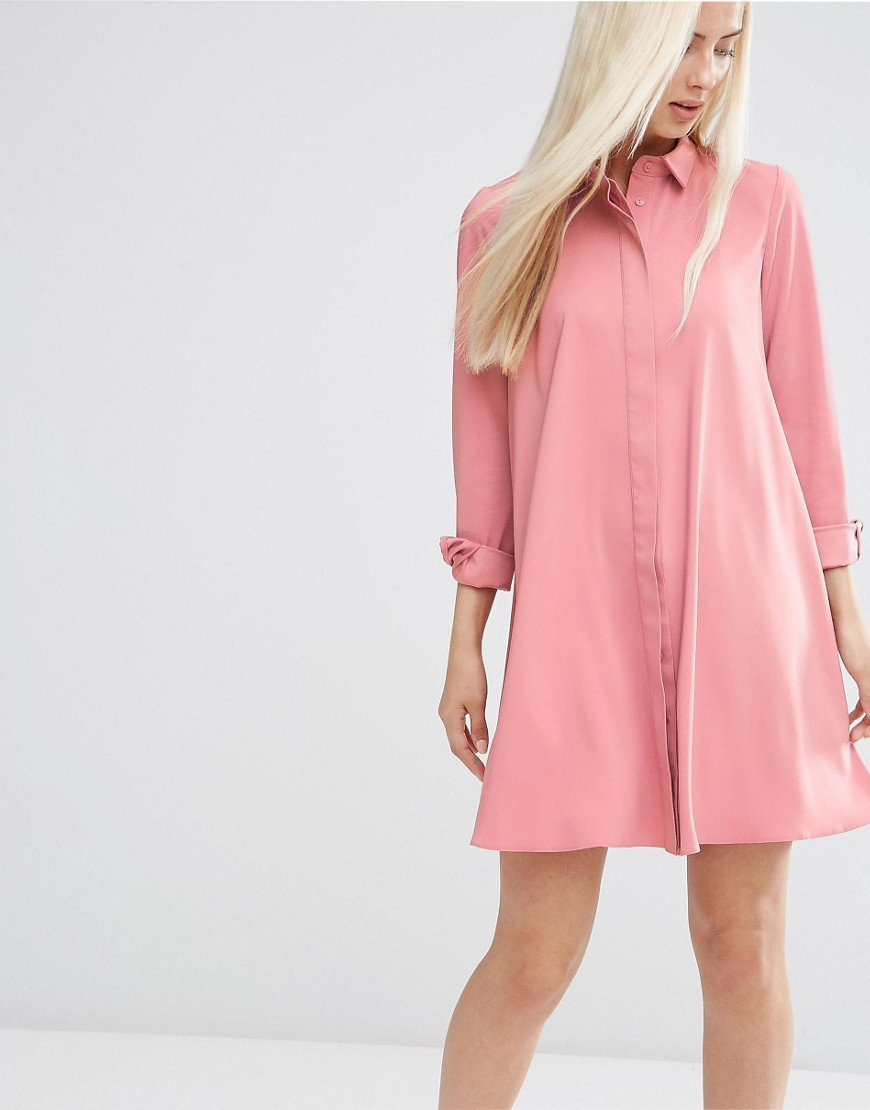 Shirt Dress Pink - style: shirt; neckline: shirt collar/peter pan/zip with opening; pattern: plain; predominant colour: pink; occasions: casual, creative work; length: just above the knee; fit: body skimming; fibres: polyester/polyamide - stretch; sleeve length: long sleeve; sleeve style: standard; pattern type: fabric; texture group: woven light midweight; season: s/s 2016; wardrobe: highlight