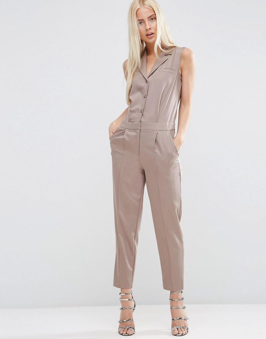 Sleeveless Tailored Shirt Jumpsuit Neutral - length: standard; neckline: shirt collar/peter pan/zip with opening; pattern: plain; sleeve style: sleeveless; predominant colour: taupe; occasions: casual; fit: body skimming; fibres: viscose/rayon - stretch; sleeve length: sleeveless; style: jumpsuit; pattern type: fabric; texture group: woven light midweight; season: s/s 2016; wardrobe: highlight