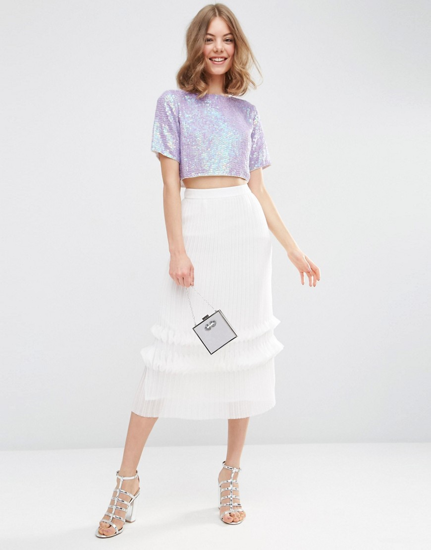 Premium Midi Skirt With Layered Pleats White - length: calf length; pattern: plain; fit: loose/voluminous; waist: mid/regular rise; predominant colour: white; occasions: evening, occasion; style: a-line; fibres: polyester/polyamide - 100%; hip detail: adds bulk at the hips; pattern type: fabric; texture group: woven light midweight; season: s/s 2016; wardrobe: event