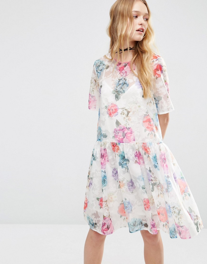 Smock Dress In Organza Floral Multi - style: smock; neckline: round neck; fit: loose; waist detail: drop waist; predominant colour: white; secondary colour: pink; occasions: casual, creative work; length: on the knee; fibres: polyester/polyamide - mix; sleeve length: half sleeve; sleeve style: standard; texture group: sheer fabrics/chiffon/organza etc.; pattern type: fabric; pattern size: big & busy; pattern: florals; multicoloured: multicoloured; season: s/s 2016; wardrobe: highlight