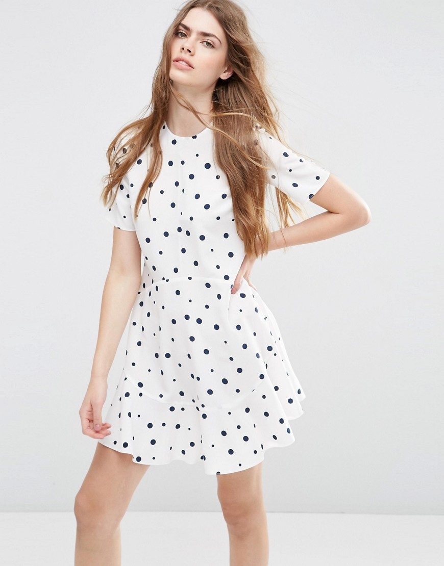 Short Sleeve Ruffle Hem Dress In Spot Print Multi - length: mid thigh; pattern: polka dot; predominant colour: white; occasions: casual, creative work; fit: fitted at waist & bust; style: fit & flare; fibres: polyester/polyamide - 100%; neckline: crew; sleeve length: short sleeve; sleeve style: standard; pattern type: fabric; pattern size: standard; texture group: other - light to midweight; season: s/s 2016; wardrobe: highlight