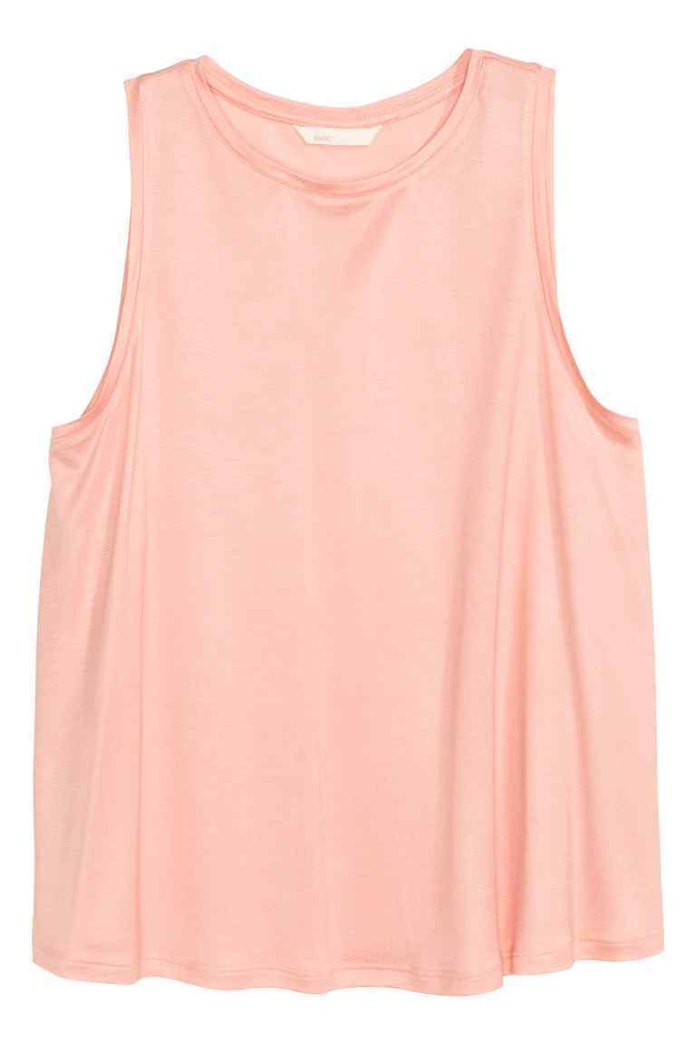 Jersey Top - neckline: round neck; sleeve style: standard vest straps/shoulder straps; pattern: plain; predominant colour: blush; occasions: casual; length: standard; style: top; fibres: viscose/rayon - 100%; fit: loose; sleeve length: sleeveless; pattern type: fabric; texture group: jersey - stretchy/drapey; season: s/s 2016