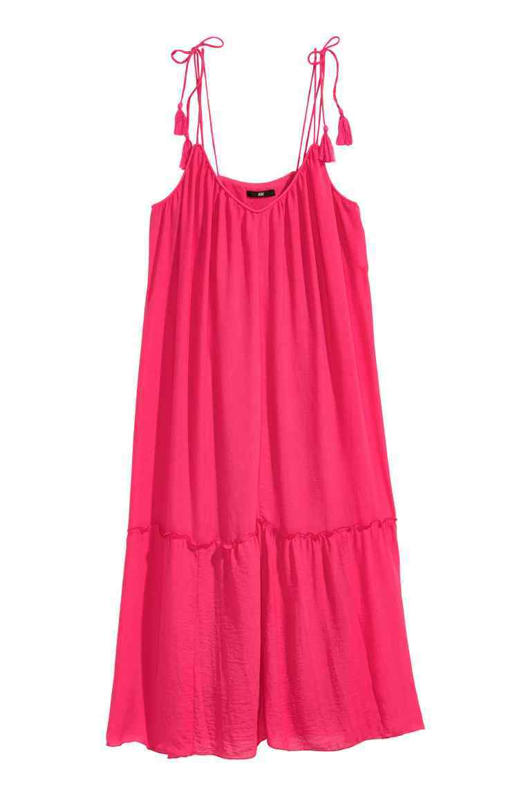 Frilled Dress - sleeve style: spaghetti straps; fit: loose; pattern: plain; style: sundress; predominant colour: hot pink; length: just above the knee; neckline: scoop; fibres: polyester/polyamide - 100%; hip detail: adds bulk at the hips; sleeve length: sleeveless; occasions: holiday; pattern type: fabric; texture group: other - light to midweight; season: s/s 2016; wardrobe: holiday
