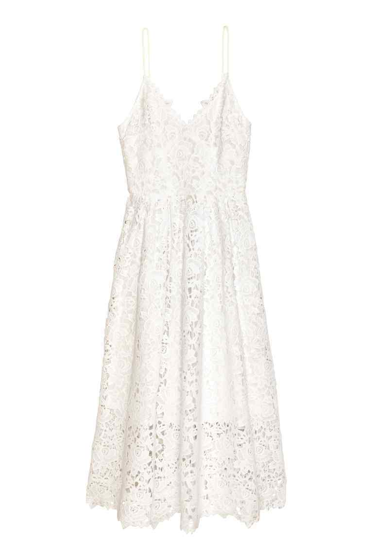 Lace Dress - neckline: v-neck; sleeve style: spaghetti straps; fit: tailored/fitted; style: maxi dress; length: ankle length; predominant colour: ivory/cream; occasions: casual, evening, holiday; fibres: cotton - mix; sleeve length: sleeveless; texture group: lace; pattern type: fabric; pattern size: light/subtle; pattern: patterned/print; season: s/s 2016; wardrobe: highlight