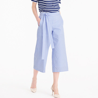 Striped Rory Pant - pattern: plain; waist detail: belted waist/tie at waist/drawstring; waist: mid/regular rise; predominant colour: pale blue; occasions: casual; length: calf length; fibres: cotton - 100%; texture group: cotton feel fabrics; fit: wide leg; pattern type: fabric; style: standard; season: s/s 2016; wardrobe: highlight