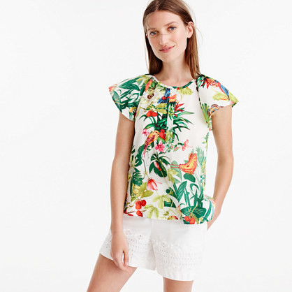 Petite Ruffle Sleeve Top In Ratti® Into The Wild Print - sleeve style: capped; style: t-shirt; predominant colour: ivory/cream; secondary colour: emerald green; occasions: casual; length: standard; fibres: cotton - 100%; fit: body skimming; neckline: crew; sleeve length: short sleeve; pattern type: fabric; pattern: florals; texture group: other - light to midweight; pattern size: big & busy (top); multicoloured: multicoloured; season: s/s 2016; wardrobe: highlight