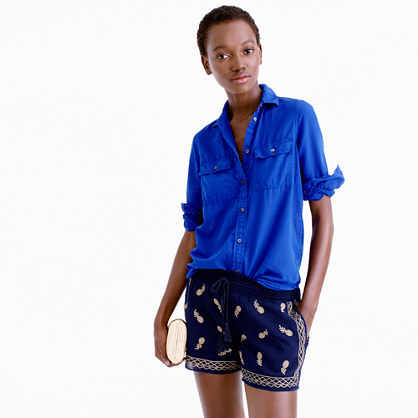 Embroidered Short In Gauzy Cotton - waist detail: belted waist/tie at waist/drawstring; waist: mid/regular rise; predominant colour: navy; secondary colour: nude; occasions: casual; fibres: cotton - 100%; texture group: cotton feel fabrics; pattern type: fabric; pattern: patterned/print; multicoloured: multicoloured; season: s/s 2016; style: shorts; length: short shorts; fit: slim leg; wardrobe: highlight