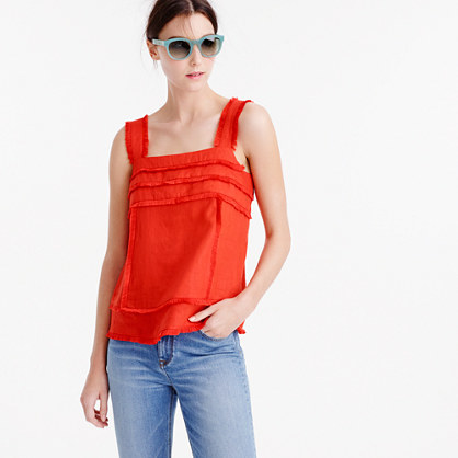 Linen Tank Top With Fringe - pattern: plain; sleeve style: sleeveless; style: vest top; predominant colour: bright orange; occasions: casual; length: standard; fibres: linen - 100%; fit: body skimming; sleeve length: sleeveless; texture group: linen; neckline: medium square neck; pattern type: fabric; season: s/s 2016; wardrobe: highlight