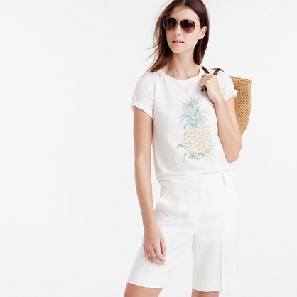 Botanical Pineapple T Shirt - neckline: round neck; style: t-shirt; predominant colour: white; occasions: casual; length: standard; fibres: cotton - mix; fit: body skimming; sleeve length: short sleeve; sleeve style: standard; pattern type: fabric; pattern size: standard; pattern: patterned/print; texture group: jersey - stretchy/drapey; season: s/s 2016; wardrobe: highlight