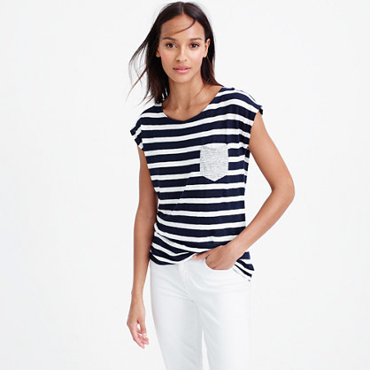Linen Striped Pocket T Shirt - pattern: horizontal stripes; style: t-shirt; secondary colour: white; predominant colour: navy; occasions: casual; length: standard; fibres: linen - 100%; fit: body skimming; neckline: crew; sleeve length: short sleeve; sleeve style: standard; texture group: linen; pattern type: fabric; multicoloured: multicoloured; season: s/s 2016; wardrobe: basic