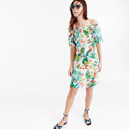 Off The Shoulder Dress In Ratti® Into The Wild Print - neckline: off the shoulder; style: sundress; predominant colour: ivory/cream; secondary colour: emerald green; occasions: casual; length: on the knee; fit: body skimming; fibres: cotton - 100%; sleeve length: half sleeve; sleeve style: standard; texture group: cotton feel fabrics; pattern type: fabric; pattern size: big & busy; pattern: florals; multicoloured: multicoloured; season: s/s 2016; wardrobe: highlight