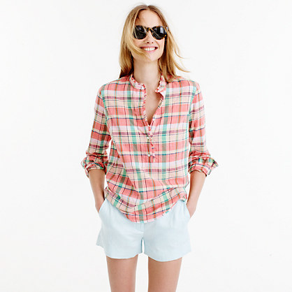 Ruffle Popover Shirt In Melon Plaid - neckline: shirt collar/peter pan/zip with opening; pattern: checked/gingham; style: shirt; predominant colour: bright orange; occasions: casual; length: standard; fibres: cotton - 100%; fit: body skimming; sleeve length: long sleeve; sleeve style: standard; texture group: cotton feel fabrics; pattern type: fabric; pattern size: big & busy (top); season: s/s 2016