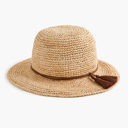 Straw Hat With Tassels - secondary colour: chocolate brown; predominant colour: stone; occasions: casual, holiday; type of pattern: standard; embellishment: tassels; style: sunhat; size: standard; material: macrame/raffia/straw; pattern: plain; season: s/s 2016; wardrobe: holiday