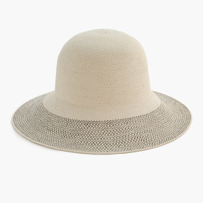 Contrast Brim Hat In Cotton - predominant colour: stone; occasions: casual; type of pattern: standard; style: brimmed; size: standard; material: fabric; pattern: florals; season: s/s 2016