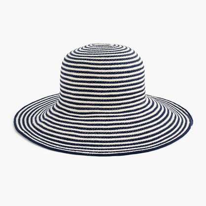 Striped Sun Hat In Cotton Blend - secondary colour: white; predominant colour: navy; type of pattern: heavy; style: sunhat; size: standard; material: fabric; occasions: holiday; pattern: horizontal stripes; season: s/s 2016; wardrobe: holiday