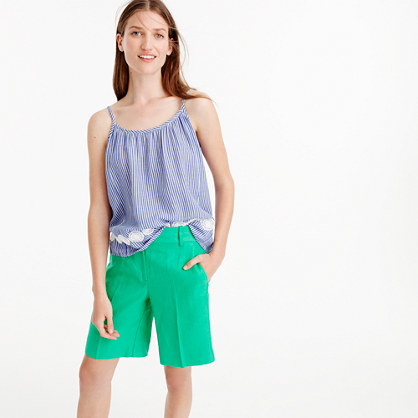 Bermuda Short In Heavy Linen - pattern: plain; waist: mid/regular rise; predominant colour: emerald green; fibres: linen - 100%; texture group: linen; pattern type: fabric; occasions: creative work; season: s/s 2016; style: tailored shorts; length: just above the knee; fit: standard; wardrobe: highlight