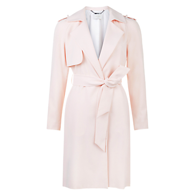 Lavina Trench, Frost Pink - pattern: plain; style: trench coat; fit: slim fit; collar: standard lapel/rever collar; length: mid thigh; predominant colour: blush; occasions: casual; fibres: polyester/polyamide - 100%; waist detail: belted waist/tie at waist/drawstring; sleeve length: long sleeve; sleeve style: standard; texture group: technical outdoor fabrics; collar break: medium; pattern type: fabric; season: s/s 2016; wardrobe: basic