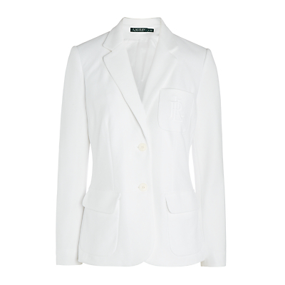 Ethana Blazer, White - pattern: plain; style: single breasted blazer; length: below the bottom; collar: standard lapel/rever collar; predominant colour: white; fit: tailored/fitted; fibres: cotton - 100%; occasions: occasion, creative work; sleeve length: long sleeve; sleeve style: standard; collar break: medium; pattern type: fabric; texture group: woven light midweight; season: s/s 2016; wardrobe: investment