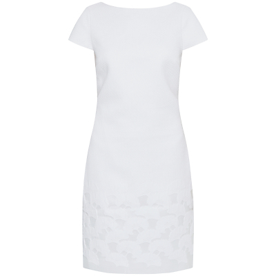 Juliene Jacquard Shift Dress, White - style: shift; neckline: round neck; fit: tailored/fitted; predominant colour: white; occasions: evening, creative work; length: just above the knee; fibres: cotton - mix; sleeve length: short sleeve; sleeve style: standard; pattern type: fabric; pattern: patterned/print; texture group: other - light to midweight; season: s/s 2016; wardrobe: highlight