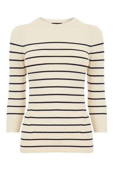 Breton Stripe Crew Jumper - pattern: horizontal stripes; style: standard; predominant colour: white; secondary colour: black; occasions: casual; length: standard; fibres: nylon - mix; fit: slim fit; neckline: crew; sleeve length: 3/4 length; sleeve style: standard; texture group: knits/crochet; pattern type: fabric; multicoloured: multicoloured; season: s/s 2016; wardrobe: highlight