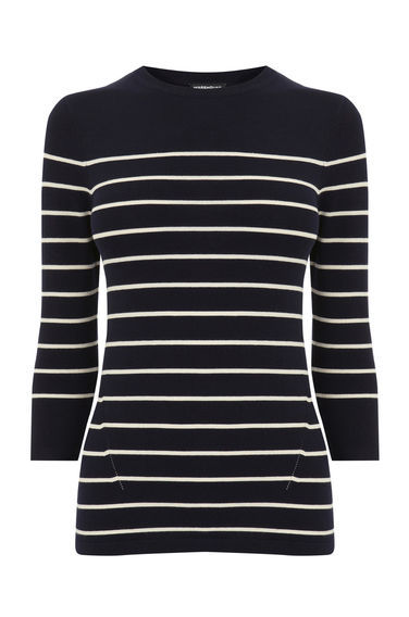 Breton Stripe Crew Jumper - pattern: horizontal stripes; style: standard; secondary colour: white; predominant colour: navy; occasions: casual; length: standard; fibres: nylon - mix; fit: slim fit; neckline: crew; sleeve length: 3/4 length; sleeve style: standard; texture group: knits/crochet; pattern type: fabric; multicoloured: multicoloured; season: s/s 2016; wardrobe: highlight