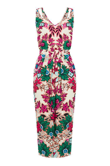Floral Wrap Midi Dress - style: shift; neckline: v-neck; sleeve style: sleeveless; predominant colour: ivory/cream; secondary colour: hot pink; occasions: evening; length: on the knee; fit: body skimming; fibres: viscose/rayon - 100%; sleeve length: sleeveless; pattern type: fabric; pattern size: big & busy; pattern: florals; texture group: jersey - stretchy/drapey; multicoloured: multicoloured; season: s/s 2016; wardrobe: event