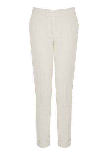 Compact Cotton Trousers - pattern: plain; waist: mid/regular rise; predominant colour: ivory/cream; length: ankle length; fibres: cotton - 100%; texture group: cotton feel fabrics; fit: slim leg; pattern type: fabric; style: standard; occasions: creative work; season: s/s 2016; wardrobe: basic