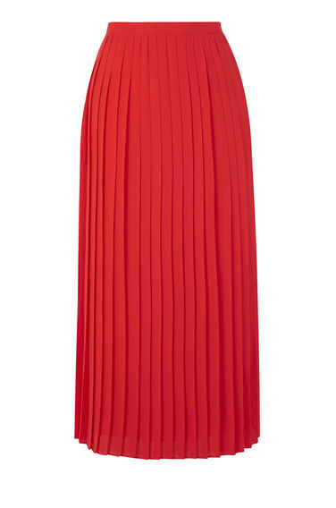 Pleated Skirt - length: calf length; pattern: plain; fit: loose/voluminous; style: pleated; waist: high rise; predominant colour: true red; fibres: polyester/polyamide - 100%; occasions: occasion, creative work; hip detail: adds bulk at the hips; waist detail: feature waist detail; texture group: sheer fabrics/chiffon/organza etc.; pattern type: fabric; season: s/s 2016; wardrobe: highlight