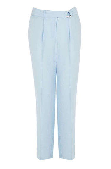Soft Belted Peg Trousers - pattern: plain; style: peg leg; waist detail: belted waist/tie at waist/drawstring; waist: mid/regular rise; predominant colour: pale blue; length: ankle length; hip detail: front pleats at hip level; fit: tapered; pattern type: fabric; texture group: other - light to midweight; fibres: viscose/rayon - mix; occasions: creative work; season: s/s 2016