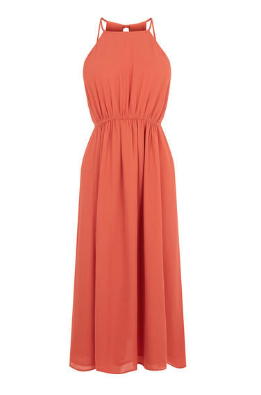Empire Channel Midi Dress - neckline: high square neck; pattern: plain; sleeve style: sleeveless; waist detail: elasticated waist; predominant colour: bright orange; occasions: casual, holiday; length: on the knee; fit: fitted at waist & bust; style: fit & flare; fibres: polyester/polyamide - 100%; hip detail: soft pleats at hip/draping at hip/flared at hip; back detail: keyhole/peephole detail at back; sleeve length: sleeveless; texture group: sheer fabrics/chiffon/organza etc.; pattern type: fabric; season: s/s 2016; wardrobe: highlight