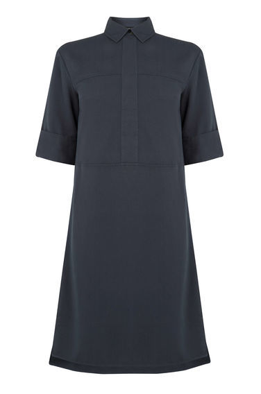 Casual Shirt Dress - style: shirt; length: mid thigh; neckline: shirt collar/peter pan/zip with opening; pattern: plain; predominant colour: navy; occasions: casual, creative work; fit: soft a-line; fibres: polyester/polyamide - 100%; back detail: longer hem at back than at front; sleeve length: half sleeve; sleeve style: standard; texture group: crepes; pattern type: fabric; season: s/s 2016; wardrobe: basic