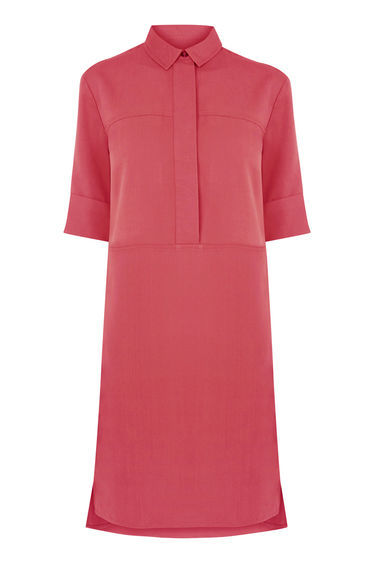 Casual Shirt Dress - style: shirt; length: mid thigh; neckline: shirt collar/peter pan/zip with opening; pattern: plain; predominant colour: hot pink; occasions: casual, creative work; fit: soft a-line; fibres: polyester/polyamide - 100%; back detail: longer hem at back than at front; sleeve length: half sleeve; sleeve style: standard; texture group: crepes; pattern type: fabric; season: s/s 2016; wardrobe: highlight