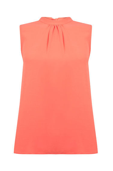 Sleeveless Tie Back Top - pattern: plain; sleeve style: sleeveless; neckline: high neck; bust detail: subtle bust detail; predominant colour: coral; occasions: casual, creative work; length: standard; style: top; fibres: polyester/polyamide - 100%; fit: straight cut; sleeve length: sleeveless; texture group: crepes; pattern type: fabric; season: s/s 2016; wardrobe: highlight