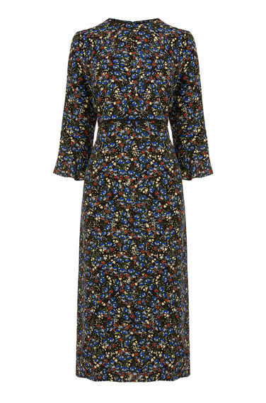 Ditsy Floral Midi Dress - style: tea dress; length: below the knee; secondary colour: royal blue; predominant colour: black; occasions: casual, creative work; fit: soft a-line; fibres: polyester/polyamide - 100%; neckline: crew; sleeve length: 3/4 length; sleeve style: standard; pattern type: fabric; pattern size: standard; pattern: florals; texture group: woven light midweight; multicoloured: multicoloured; season: s/s 2016; wardrobe: highlight