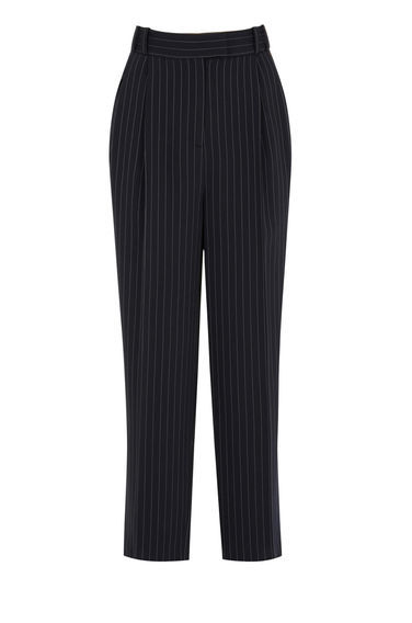 Pinstripe Mensy Trousers - pattern: vertical stripes; style: peg leg; waist: high rise; predominant colour: navy; length: ankle length; fibres: cotton - stretch; trends: monochrome; fit: tapered; pattern type: fabric; texture group: other - light to midweight; occasions: creative work; pattern size: light/subtle (bottom); season: s/s 2016; wardrobe: highlight