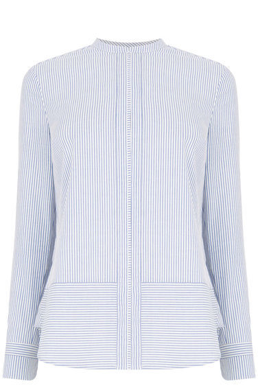 Ticking Stripe Grandad Shirt - pattern: pinstripe; style: blouse; secondary colour: white; predominant colour: pale blue; occasions: casual, creative work; length: standard; neckline: collarstand; fibres: cotton - 100%; fit: straight cut; sleeve length: long sleeve; sleeve style: standard; pattern type: fabric; pattern size: light/subtle; texture group: woven light midweight; season: s/s 2016; wardrobe: highlight