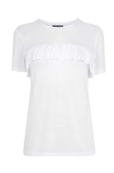 Single Ruffle Tee - pattern: plain; style: t-shirt; predominant colour: white; occasions: casual; length: standard; fibres: viscose/rayon - 100%; fit: body skimming; neckline: crew; sleeve length: short sleeve; sleeve style: standard; bust detail: tiers/frills/bulky drapes/pleats; pattern type: fabric; texture group: jersey - stretchy/drapey; season: s/s 2016