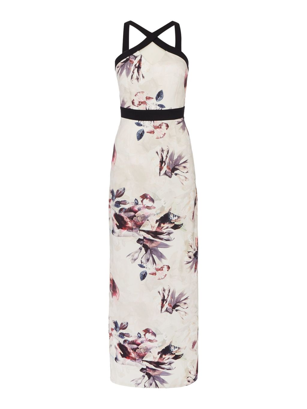Sleeveless Cross Over Maxi Dress, Multi Coloured - fit: fitted at waist; sleeve style: sleeveless; style: maxi dress; length: ankle length; predominant colour: ivory/cream; secondary colour: pink; fibres: polyester/polyamide - stretch; occasions: occasion; sleeve length: sleeveless; pattern type: fabric; pattern size: standard; pattern: florals; texture group: other - light to midweight; season: s/s 2016; neckline: high halter neck; wardrobe: event