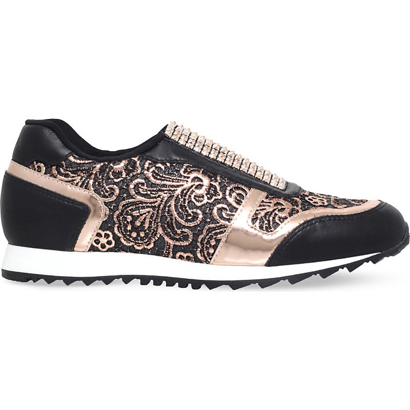 Olympic Leather Trainers, Women's, Eur 37 / 4 Uk Women, Black - secondary colour: blush; predominant colour: black; occasions: casual; material: leather; heel height: flat; toe: round toe; style: trainers; finish: metallic; pattern: patterned/print; shoe detail: tread; season: s/s 2016; wardrobe: highlight