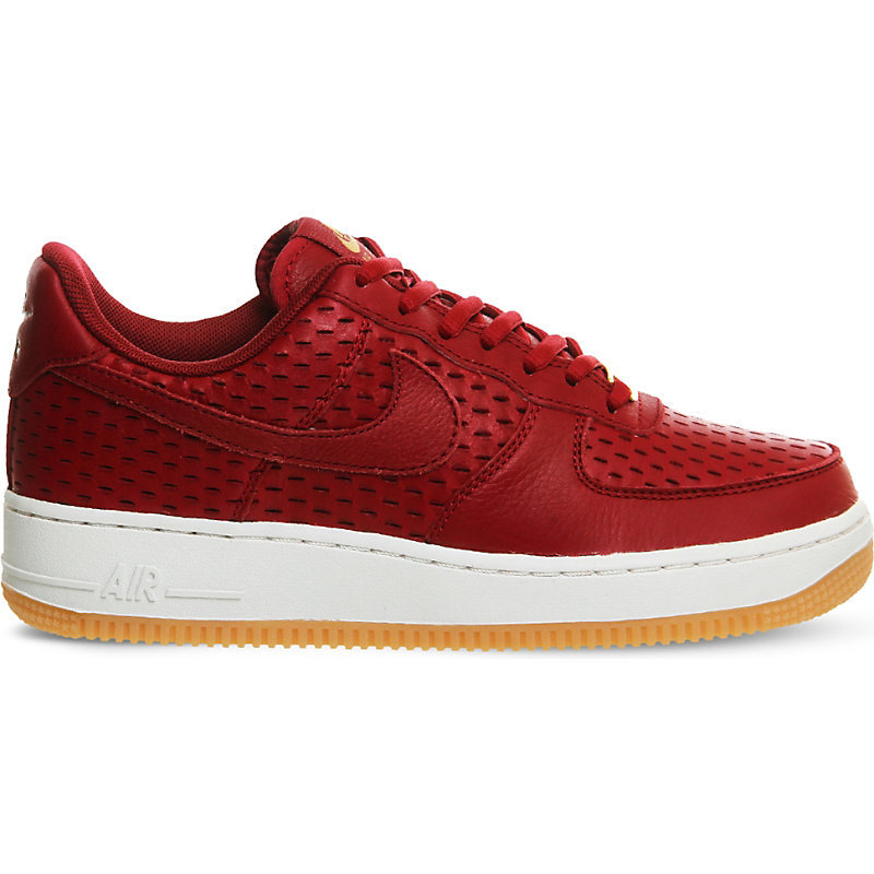 Air Force 1 '07 Leather Trainers, Women's, Noble Red Cut - predominant colour: true red; occasions: casual; material: leather; heel height: flat; toe: round toe; style: trainers; finish: plain; pattern: plain; shoe detail: platform with tread; season: s/s 2016; wardrobe: highlight
